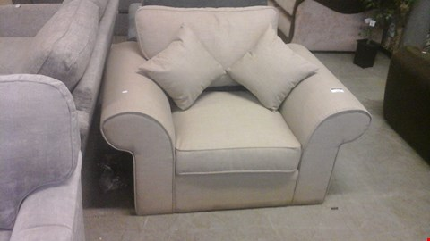 Lot 1236 DESIGNER BEIGE FABRIC ARMARMCHAIR