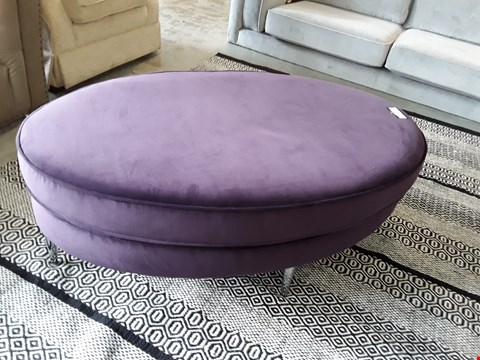 Lot 76 QUALITY BRITISH DESIGNER PURPLE PLUSH VELVET OVAL FOOTSTOOL ON CHROME FEET
