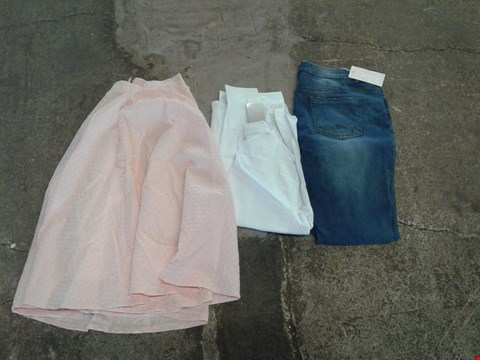 Lot 241 BOX OF APPROXIMATELY 50 CLOTHING ITEMS TO INCLUDE WHITE SHIRT, MID ACID WASH JEANS AND PINK SKIRT- VARIOUS SIZES
