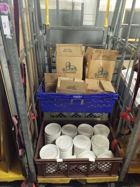 Lot 174 CAGE CONTAINING A LARGE QUANTITY OF CHURCHILL WHITE NOVA TEA SAUCERS
