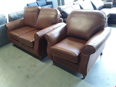 Lot 2009 QUALITY BRITISH DESIGNER BROWN LEATHER 2 SEATER SOFA AND ARMCHAIR