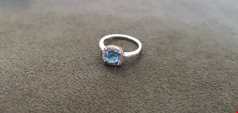 Lot 72 9CT WHITE GOLD DRESS RING SET WITH BLUE TOPAZ TO DIAMOND SET HALO TOTAL WEIGHT +2.03CT  RRP £1000.00