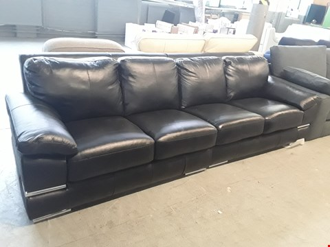 Lot 12 TWO DESIGNER BLACK LEATHER SOFA SECTIONS COMPRISING A  FOUR SEATER SOFA