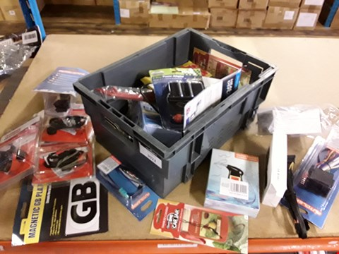 Lot 3022 BOX OF ASSORTED ITEMS, INCLUDING, AIR FRESHENERS, IN CAR HOLDERS, IN CAR CHARGERS, POWER LEADS, ALCOHOL TESTER,