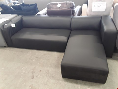 Lot 29 DESIGNER BLACK FAUX LEATHER SOFA SECTION