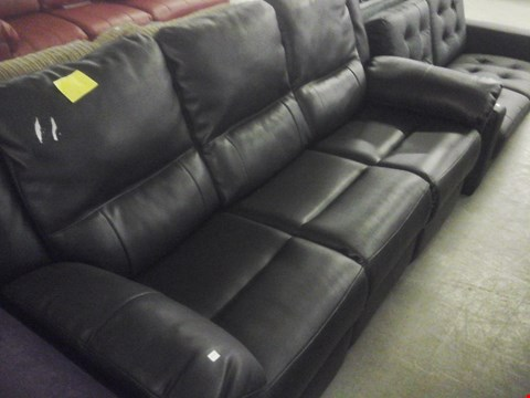 Lot 75 DESIGNER BLACK FAUX LEATHER 3 SEATER RECLINER SOFA