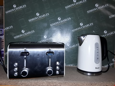Lot 4282 SWAN SK13151C STAINLESS STEEL KETTLE & ST70130C 4-SLICE TOASTER TWIN PACK - CREAM RRP £47.99