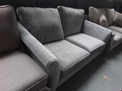 Lot 40 QUALITY BRITISH DESIGNER DARK GREY VELOUR EFFECT FABRIC HAMPSHIRE 2 SEATER SOFA
