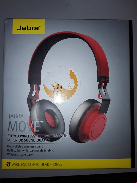 Lot 802 JABRA MOVE WIRELESS BLUETOOTH ON-EAR HEADPHONES - RED