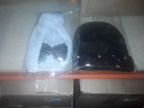 Lot 1098 BOX OF APPROXIMATELY 70 ASSORTED BRAND NEW HATS TO INCLUDE BEANIES AND KITTED BOBBLE HATS