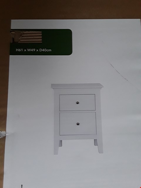 Lot 7080 BOXED WHITE 2 DRAWER BEDSIDE TABLE