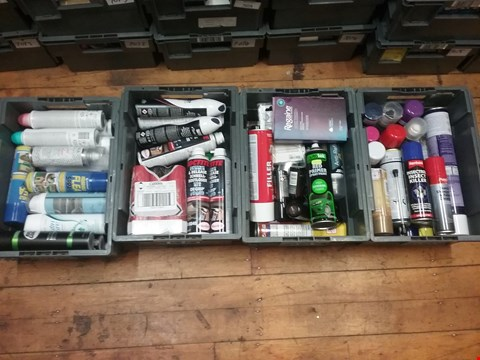 Lot 7080 LOT OF 4 BOXES OF ASSORTED AEROSOLS TO INCLUDE HOUSEHOLD FLEA SPRAY, LOCTITE FREEZE & RELEASE LUBRICANT, AUTOTEK RED PRIMER SPRAY PAINT, RENTOKILL INSECT KILLER ETC (BOXES NOT INCLUDED)