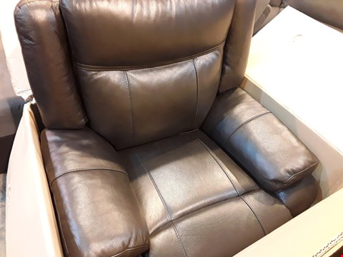 Lot 524 BOXED DESIGNER PALMERO DARK BROWN LEATHER POWER RECLINING EASY CHAIR