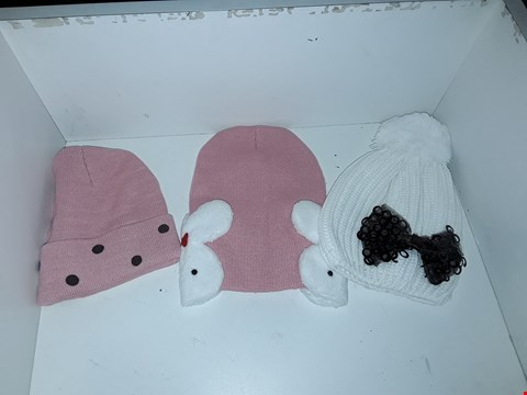 Lot 1029 BOX OF APPROXIMATELY 70 ASSORTED BRAND NEW KNIT HATS TO INCLUDE PINK HAT WITH RABBIT DETAIL