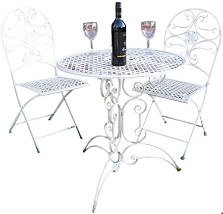 Lot 7135 BOXED GRADE 1 ROMA BISTRO SET CREAM- TABLE & 2 CHAIRS, 1 BOX RRP £69.99