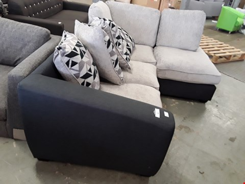 Lot 362 TWO DESIGNER CHARCOAL AND SILVER FABRIC CORNER SOFA SECTIONS