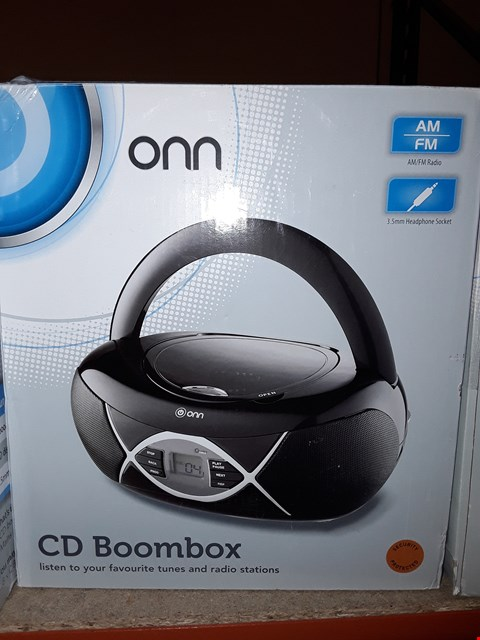 Lot 2008 BOXED ONN CD AM/FM RADIO BOOMBOX IN BLACK  RRP £12