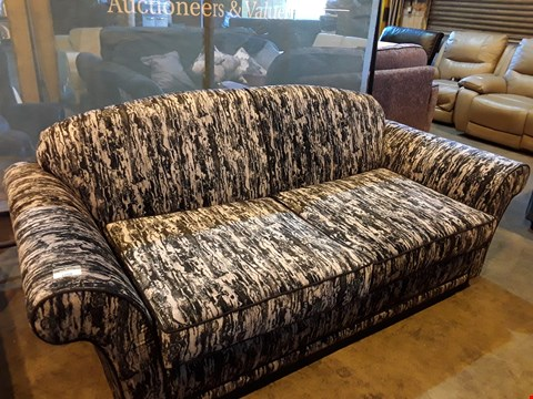 Lot 1008 DESIGNER JOHN FLEMING UPHOLSTERY DIPLOMAT GREY/CHARCOAL VELVET SHAPED BACK THREE SEATER SOFA