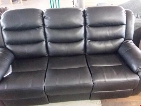 Lot 88 DESIGNER BLACK FAUX LEATHER 3 SEATER MANUAL RECLINING SOFA