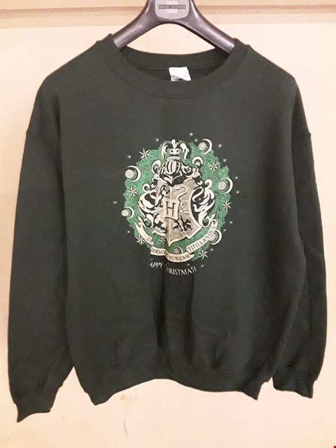 Lot 5033 BRAND NEW HOGWARTS GREEN LARGE CHRISTMAS JUMPER