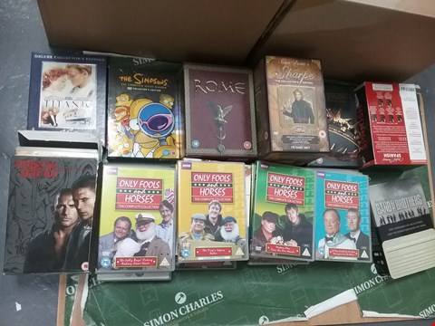 Lot 12017 A BOX OF APPROXIMATELY 28 ASSORTED DVD/BOXSETS TO INCLUDE A TITANIC DVD AND ASSORTED ONLY FOOLS AND HORSES DVDS