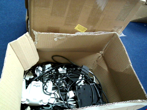 Lot 15662 BOX OF ASSORTED GAMES CONTROLLERS AND CABLES ETC