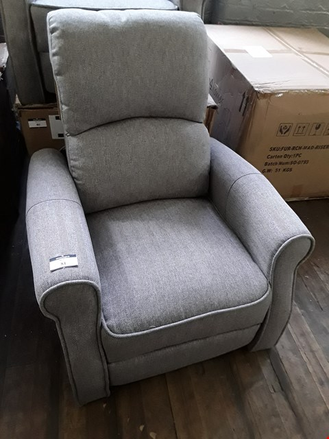 Lot 2009 DESIGNER GREY FABRIC PUSH BACK RECLINING EASY CHAIR