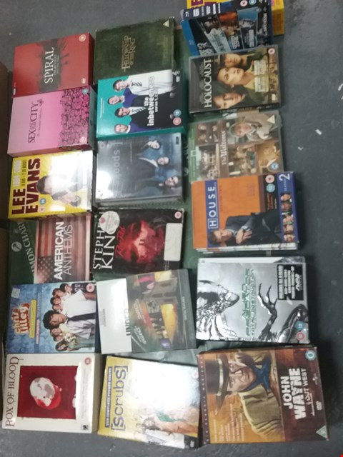Lot 12026 A BOX OF APPROXIMATELY 27 ASSORTED DVD/BOXSETS TO INCLUDE A  LEE EVANS DVD AND A JOHN WAYNE SET