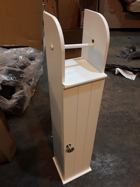 Lot 200 BOXED DESIGNER WHITE NARROW CUPBOARD WITH TOILET ROLL HOLDER