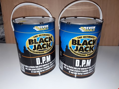 Lot 219 2 X 5L EVERBUILD BLACK JACK D.P.M WEATHERPROOF PROTECTION