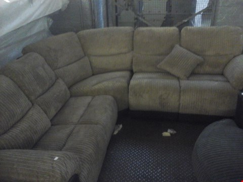 Lot 67 DESIGNER CORDED BROWN FABRIC CORNER SOFA