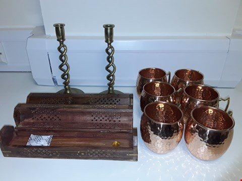 Lot 6505 LOT OF 11 ASSORTED HOME DECOR ITEMS TO INCLUDE COPPER LOOK CUPS, TWISTED METAL CANDLESTICK HOLDERS AND INCENSE BOXES