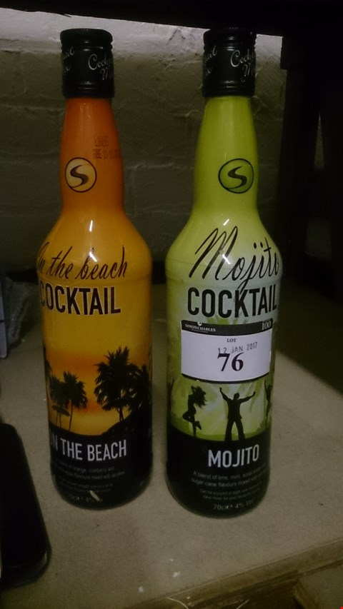 Lot 76 TWO 70cl COCKTAILS, ON THE BEACH & MOJITO