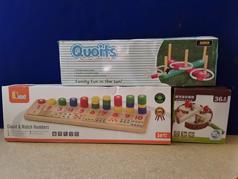 Lot 5065 THREE BOXED WOODEN CHILDRENS' TOYS, INCLUDING QUOITS AND VIGA COUNT & MATCH NUMBERS