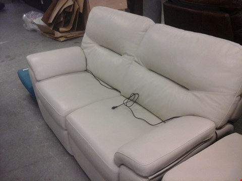 Lot 7 QUALITY BRITISH MADE HARDWOOD FRAMED CREAM LEATHER 2 SEATER ELECTRIC RECLINER SOFA