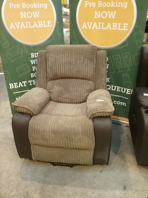 Lot 43 DESIGNER BROWN LEATHER AND CORDED FABRIC RECLINING ARM CHAIR