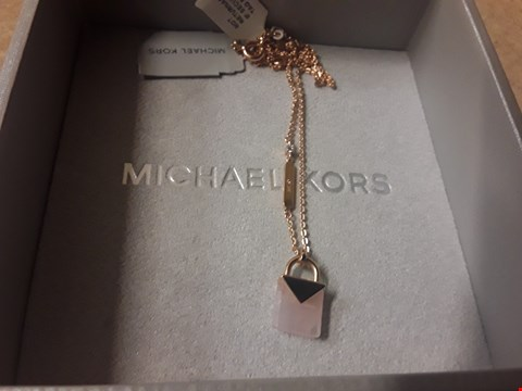 Lot 9236 GRADE 1 MICHAEL KORS SEMI-PRECIOUS 14CT ROSE GOLD PADLOCK PENDANT RRP £250.00