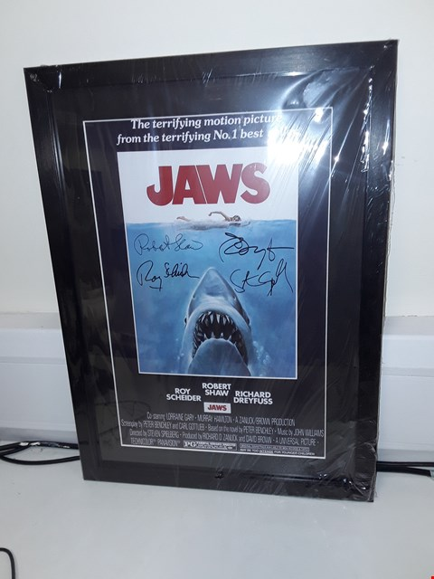 Lot 47 FRAMED JAWS MOVIE POSTER