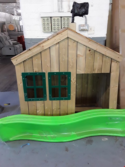 Lot 92 TP FOREST COTTAGE WOODEN PLAYHOUSE AND SLIDE  RRP £559.99