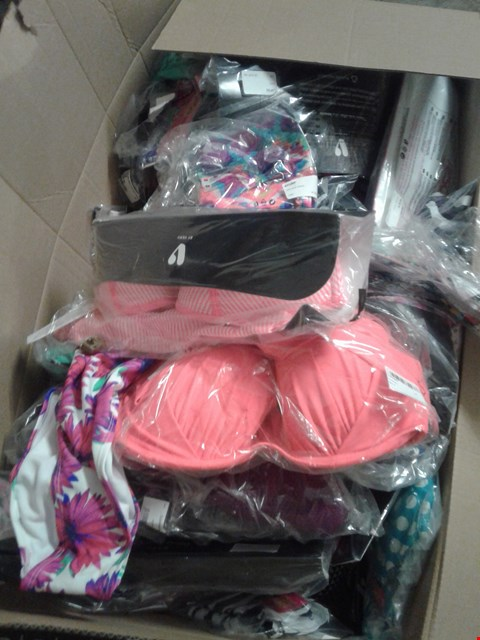 Lot 859 A BOX OF APPROXIMATELY 28 ASSORTED CLOTHING ITEMS TO INCLUDE A FLORAL PRINT SWIMWEAR, A LIGHT PINK BIKINI AND A WHITE AND ORANGE BIKINI