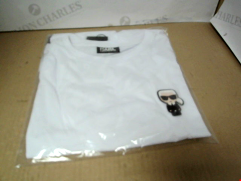 Lot 7148 KARL LAGERFELD MINI KARL LOGO WHITE T-SHIRT - SIZE MEDIUM
