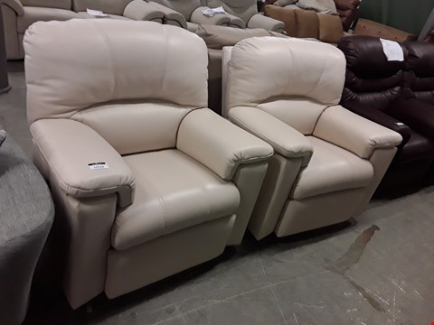 Lot 12518 QUALITY BRITISH MADE, HARDWOOD FRAMED CREAM LEATHER PAIR OF MANUAL RECLINING ARMCHAIRS