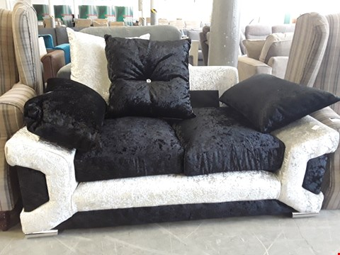 Lot 309 DESIGNER BLACK AND SILVER CRUSHED VELVET 2 SEATER SOFA WITH SCATTER BACK CUSHIONS