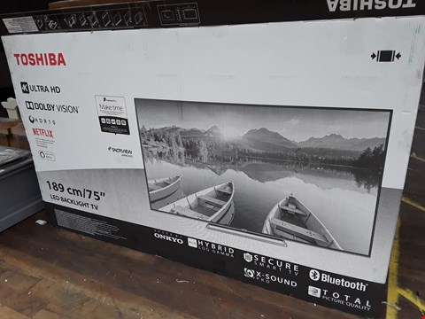 "Lot 1001 TOSHIBA 75"" 4K ULTRA HD TELEVISION MODEL 75U6863DB"