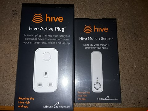 Lot 8107 LOT OF 2 HIVE ITEMS TOCINCLUDE A MOTION SENSOR AND AN ACTIVE PLUG