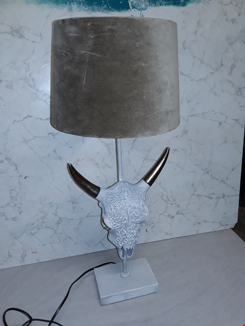 Lot 4003 WHITE PAINTED DECORATIVE SKULL STYLE TABLE LAMP WITH BROWN SHADE