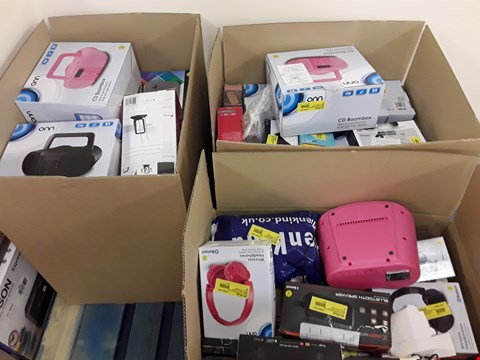 Lot 7530 LOT OF 3 BOXES OF A SIGNIFICANT QUANTITY OF ASSORTED ELECTRICAL ITEMS TO INCLUDE DVD PLAYERS, HEADPHONES, CD PLAYERS ETC