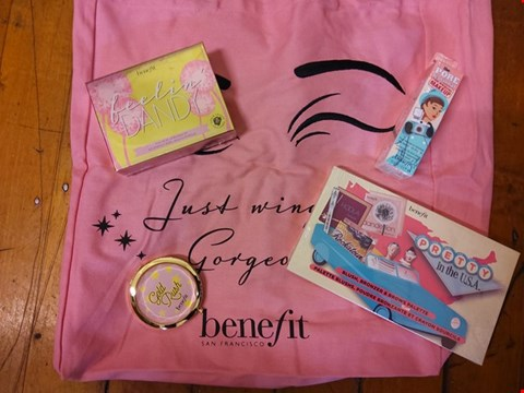 Lot 72 5 ASSORTED BRAND NEW BENEFIT BEAUTY PRODUCTS TO INCLUDE; PRETTY IN THE U.S.A BLUSH, BRONZER, AND BROWS PALETTE, FEELIN DANDY PERK ME UP...LIP AND CHEEK KIT, GOLD RUSH MIRROR POCKET MIRROR AND TOTE BAG