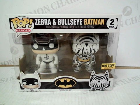 "Lot 3088 POP! HEROES ""ZEBRA & BULLSEYE BATMAN"" VINYL FIGURES"