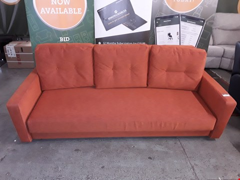 Lot 8025 QUALITY DESIGNER BRITISH MADE WOODEN FRAME VINTAGE STYLE ORANGE FABRIC 3 SEATER SOFA